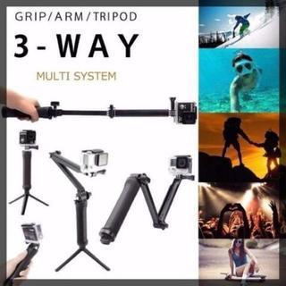GoPro 対応 3Way 自撮り棒 軽量 持ちやすいグリップ  【対応機種】(暗室関連用品)