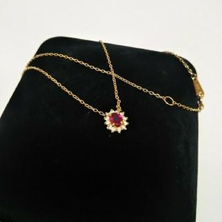アッシュペーフランス(H.P.FRANCE)のsimmon K18  ダイヤモンド  ルビーネックレス(ネックレス)