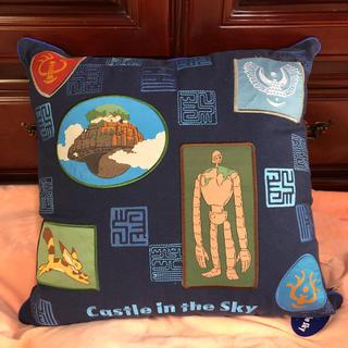 ジブリ(ジブリ)の天空の城 ラピュタ 刺繍 クッション ジブリ 45x45cm 飛行石 ダイカット(キャラクターグッズ)