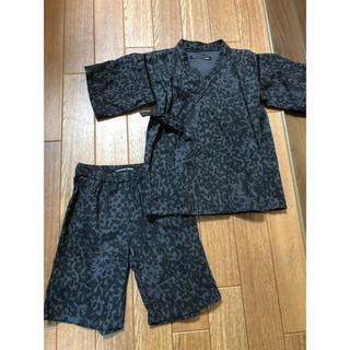 ヒステリックミニ(HYSTERIC MINI)のヒスミニ♡レオパード甚平100ブラック豹柄(甚平/浴衣)