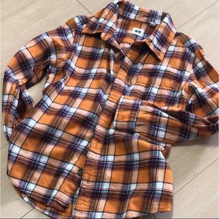 ユニクロ(UNIQLO)のユニクロ ネルシャツ 130 オレンジ(Tシャツ/カットソー)