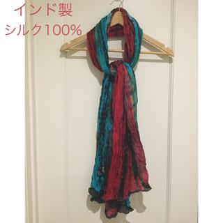 トラニ(Tolani)のTolani シワ加工  コンビ色染め シルク100% スカーフ(バンダナ/スカーフ)
