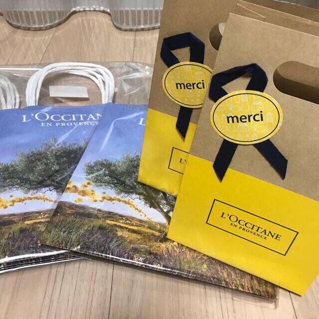L'OCCITANE(ロクシタン)の未開封 6枚 ロクシタン ラッピング 紙袋 ショッパー ギフト プレゼント インテリア/住まい/日用品のオフィス用品(ラッピング/包装)の商品写真