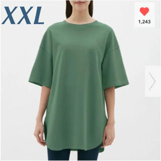 ジーユー(GU)の新品❤︎ヘビーウェイトオーバーサイズT❤︎ジーユー XXL グリーン (Tシャツ(半袖/袖なし))