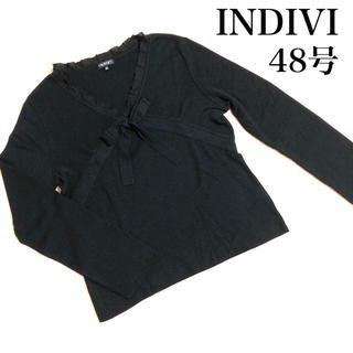 インディヴィ(INDIVI)のINDIVI インディヴィ アンゴラ混 フリル リボン ニットソー 大きいサイズ(ニット/セーター)