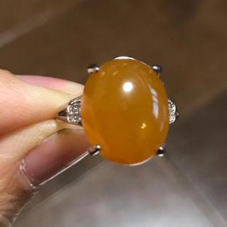 【大玉】オレンジ色 A貨翡翠リング(リング(指輪))