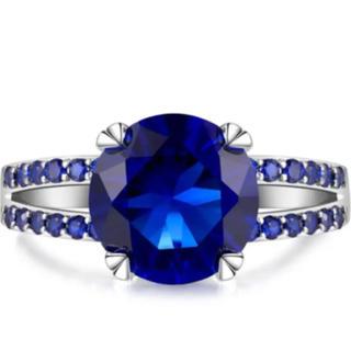 極上の逸品◆ 25石 超大粒 14号 サファイアレディースダイヤリング 3ct(リング(指輪))