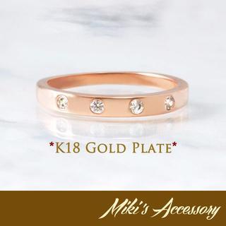 K18GP イコールラインアップリング ダイヤ ピンクゴールド レディース(リング(指輪))