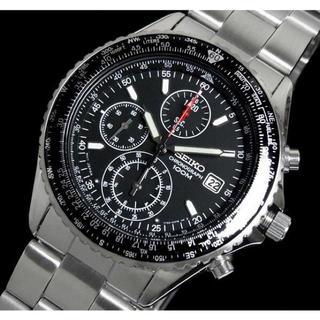セイコー(SEIKO)の腕時計 SEIKO クロノグラフ(逆輸入)定番ブラック(腕時計(アナログ))
