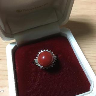 赤珊瑚リング プラチナリング ダイヤモンドリング(リング(指輪))