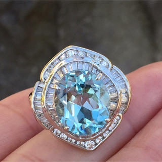 pt900 大粒  アクワマリン  ダイヤモンド リング(リング(指輪))