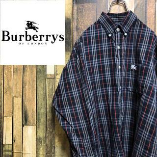 バーバリー(BURBERRY)の【激レア】バーバリーズBurberrys☆刺繍ロゴ入りノバチェックシャツ 90s(シャツ)