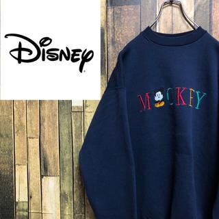 【激レア】ディズニー☆USA製ミッキー刺繍・刺繍ビッグロゴスウェット 90s