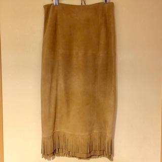 マカフィー(MACPHEE)のMACPHEE リアルレザー フリンジタイトスカート(ひざ丈スカート)