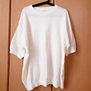 ジーユー(GU)のニット Tシャツ 白 【新品】GU ジーユー 3L (Tシャツ/カットソー(半袖/袖なし))