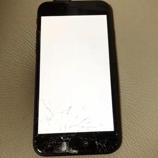 アップル(Apple)のiphone 7 128gb softbank 画面割れあり!ブラック(スマートフォン本体)