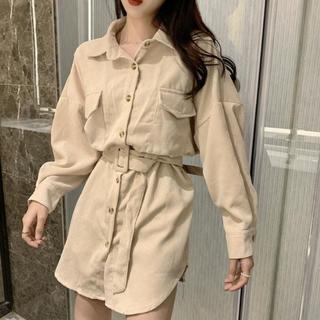 韓国ファッション コーデュロイ シャツ ワンピース(ミニワンピース)