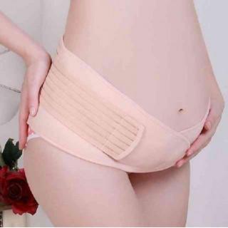 11妊婦帯 ダブルベルト 妊婦用 サポーター 腹帯 産後 骨盤ベルト ベージュ(エクササイズ用品)