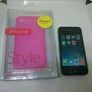 アイフォーン(iPhone)のiPhone4 16GB LINE入+ケース,液晶保護A1332 動作確認済(スマートフォン本体)