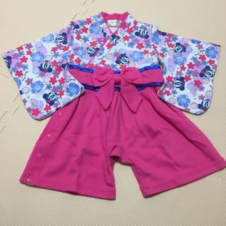 ディズニー(Disney)のミニーマウス 袴ロンパース 80cm 女の子 着物 ひなまつり 桃の節句 初節句(和服/着物)
