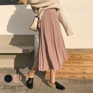 【新品】プリーツスカート ミモレ丈 スカート ロング フレアスカート ボトム(ロングスカート)