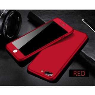MC119 メタリックフルカバー iphone8 7PLUS ガラス付き 赤(キーホルダー)