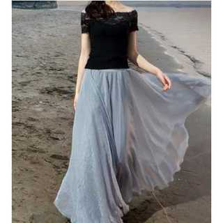ゆったり ふんわりマキシ丈スカート  フリーサイズ(ロングスカート)