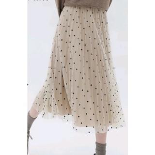 ◆アウトレット★*2wayドット柄ベロアチュールプリーツロングスカート(ロングスカート)