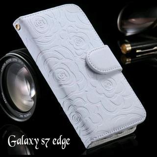 Galaxy S7 edge ホワイト 他 お洒落な バラ 柄 手帳型ケース(Androidケース)