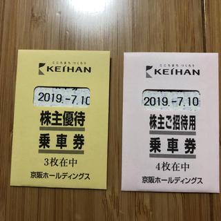 ケイハンヒャッカテン(京阪百貨店)の京阪株主優待乗車券 7枚(鉄道乗車券)
