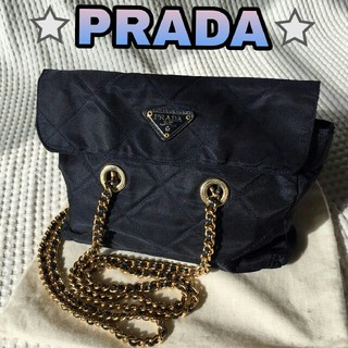 プラダ(PRADA)のPRADA プラダ キルティング ショルダーバッグ ネイビー チェーンバッグ(ショルダーバッグ)