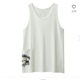 ジーユー(GU)のGUキムジョーンズコラボサイドポケットタンクトップメンズLサイズwhite色(Tシャツ/カットソー(半袖/袖なし))