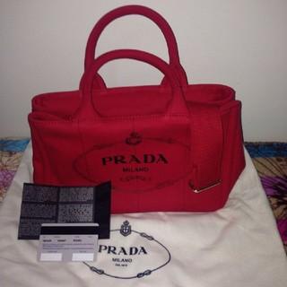 プラダ(PRADA)のPRADA  カナパ  トートバッグ レッド(トートバッグ)
