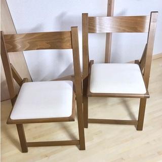 ムジルシリョウヒン(MUJI (無印良品))の無印良品 折りたたみ椅子 ブラウン 中古品 2脚セット(折り畳みイス)