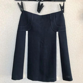 マーブルインク(marble ink)の切り替えスカート ネイビー(ひざ丈スカート)