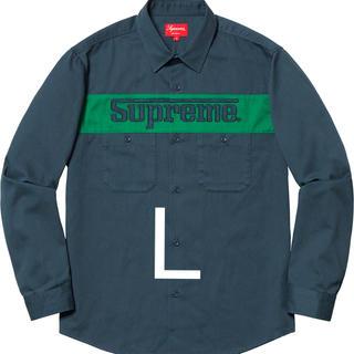 シュプリーム(Supreme)のsupreme racing logo work shirt ネイビー Lサイズ(シャツ)