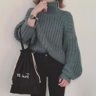 エイチアンドエム(H&M)のH&M☆チャンキーニット グリーン(ニット/セーター)