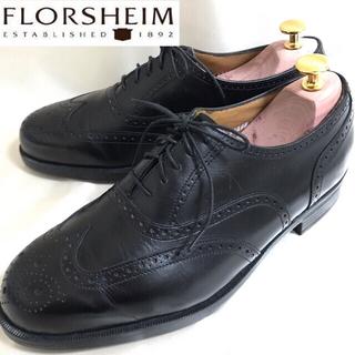 リーガル(REGAL)のFLORSHEIM フローシャイム 美品 ウィングチップ 内羽根 ブラック 革靴(ドレス/ビジネス)
