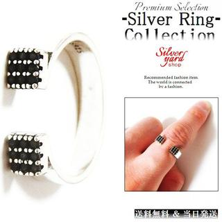 [413]指輪 フリーサイズ シルバー メンズ レディース リング 黒石(リング(指輪))