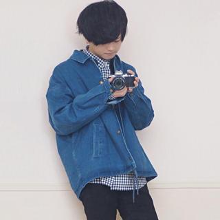 ジーユー(GU)のGU デニムコーチジャケット ブルー L 完売新品未使用タグ付き(Gジャン/デニムジャケット)