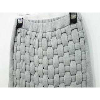 イェーライト(YEAH RIGHT!)のYEAH RIGHT!! 編み込み スウェット スカート 日本製 グレー(ひざ丈スカート)