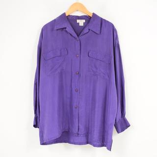 コムデギャルソン(COMME des GARCONS)の古着 vintage シルクオープンカラーシャツ パープル(シャツ)