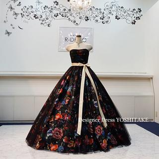 ウエディングドレス(パニエつき) 黒花柄&黒チュールドレス 披露宴/二次会ドレス(ウェディングドレス)