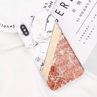 iPhone7.8ケース♡大理石♡ラメ♡オレンジ(iPhoneケース)