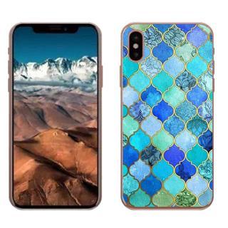 iPhoneX ブルー グリーン タイル模様 ソフトケース(iPhoneケース)