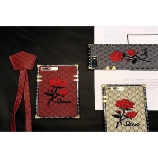 スクエア バラ刺繍ロングストラップ付 iPhoneケース(iPhoneケース)