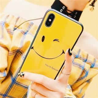 iPhone7 iPhone8 ガラスコーティング ニコちゃん イエロー ケース(iPhoneケース)