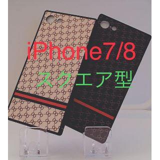 ☆スクエア型iPhoneケース☆ iPhone7/8 ブラック モノグラム柄(iPhoneケース)