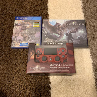 プレイステーション4(PlayStation4)の【新品・未使用】モンスターハンターワールド、限定コントローラー、攻略本。(その他)