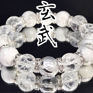 b55*大玉/14mm*玄武銀彫水晶*ハウライト*クラック水晶*ブレスレット(ブレスレット)